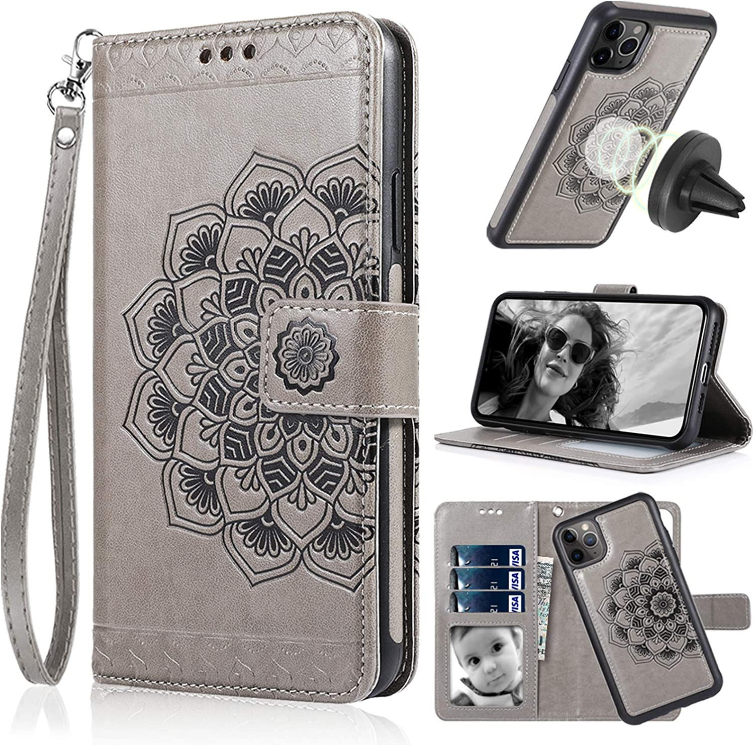 iPhone 11 Pro 5.8/'/' Protective iPhone 11 Pro Back Cover Case Genuine Leather Magnetic Detachable Protective Wallet Case with Card Slots