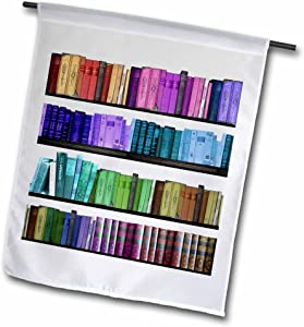 3dRose InspirationzStore Rainbows - Colorful Bookshelf Books - Rainbow Bookshelves - Reading Book Geek Library Nerd - Librarian Author - 18 x 27 inch Garden Flag (fl_112957_2)