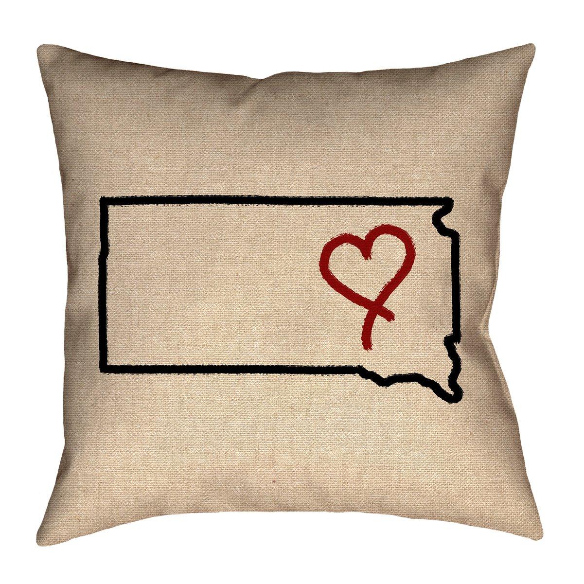 ArtVerse Katelyn Smith 16' x 16' Spun Polyester South Dakota Love Pillow
