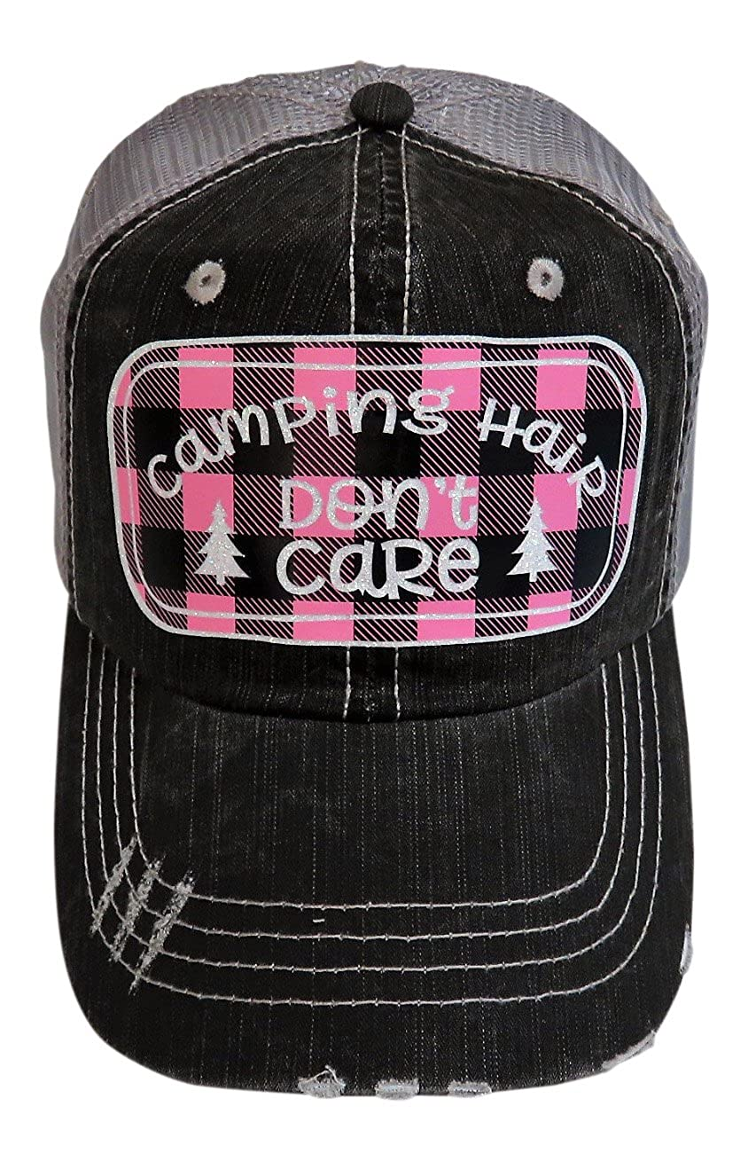 White Glitter Camping Hair Don't Care on Pink Plaid Grey Trucker Cap Hat