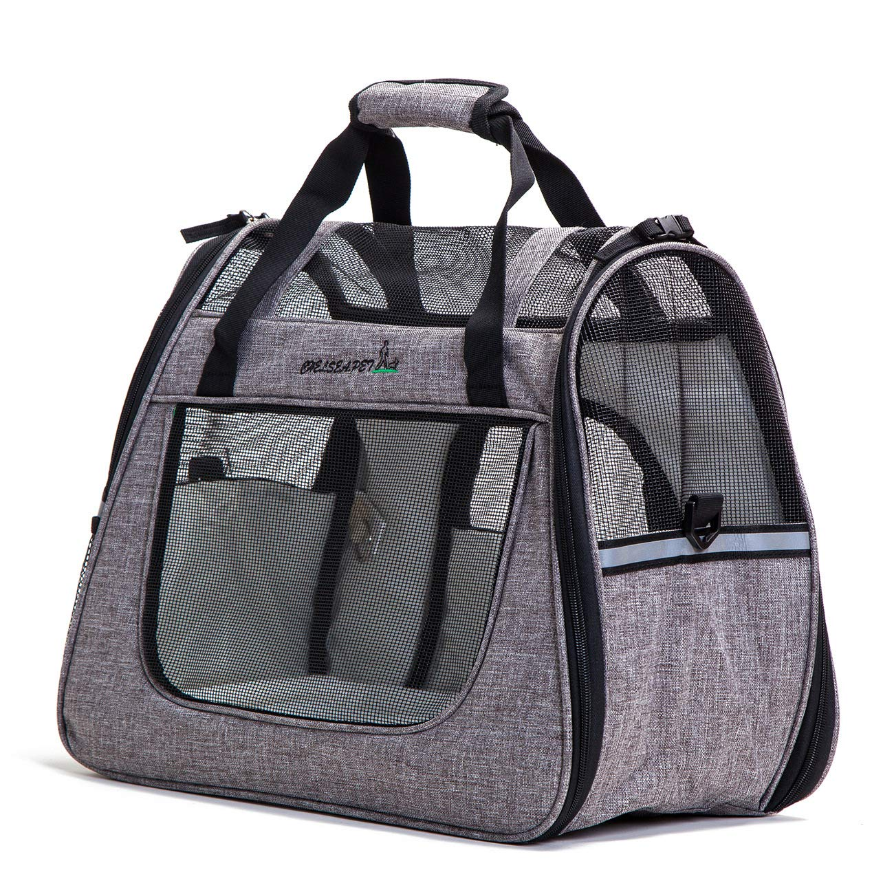 Pet Carrier Soft Dog & Cat Small Carrier, Foldable Pet Travel Carrier 45x25x34cm (Light Grey)