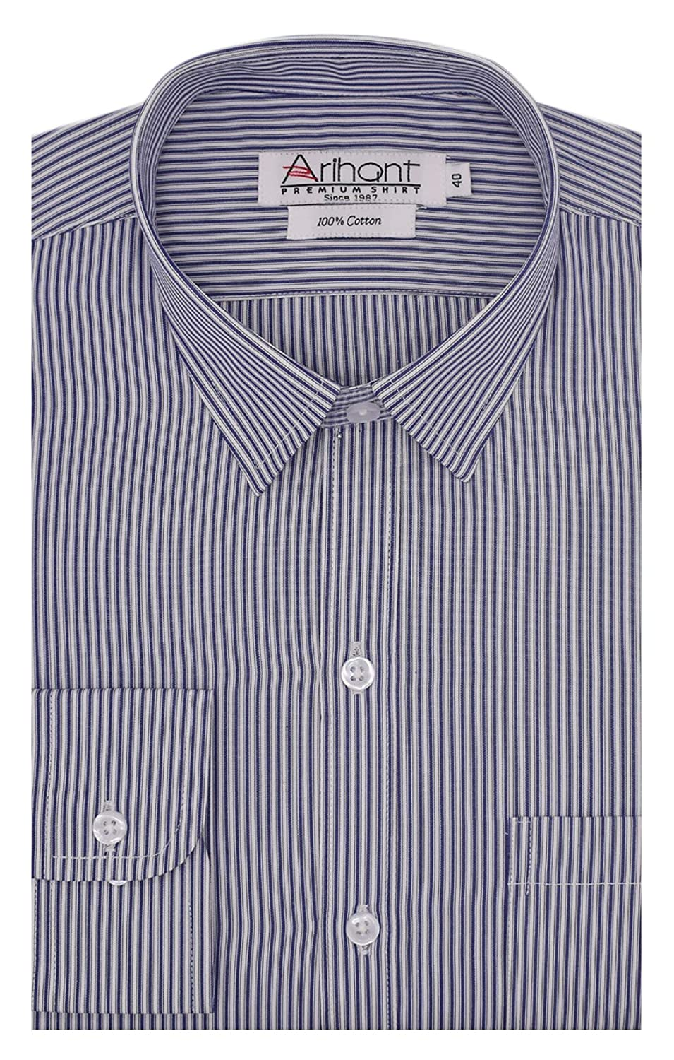 ac2e63169 Arihant Men's Striped Full Sleeves Regular Fit 100% Cotton Formal Shirts  (AR781201_Blue_44): Amazon.in: Clothing & Accessories