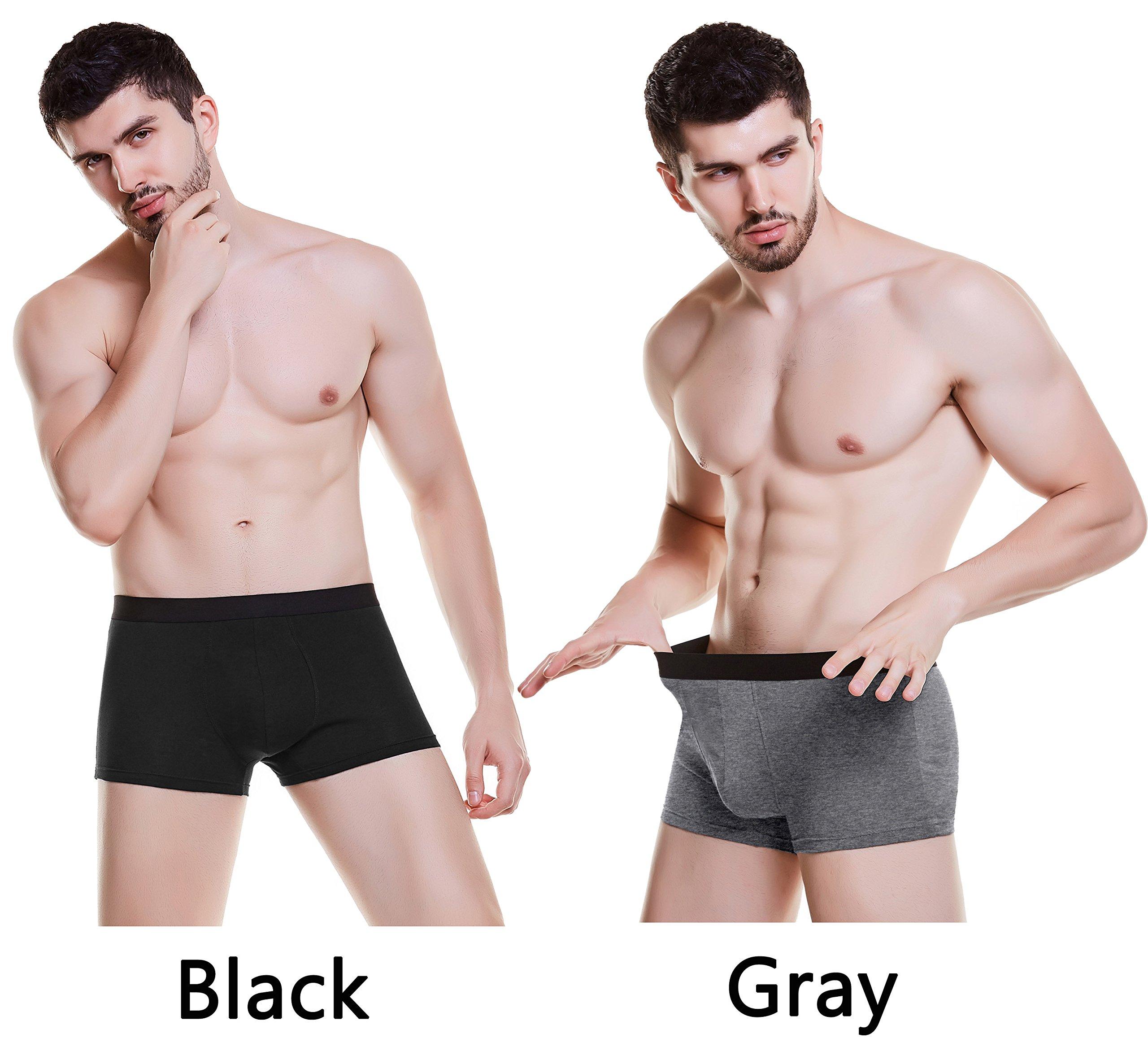 ASERLIN Men\'s 2-Pack Boxer Briefs Underwear Men\'s Pure Cotton U Convex Underwear 1BK1GY-M