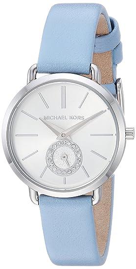 502860108de0 Michael Kors Women s Stainless Steel Quartz Watch with Leather Calfskin  Strap