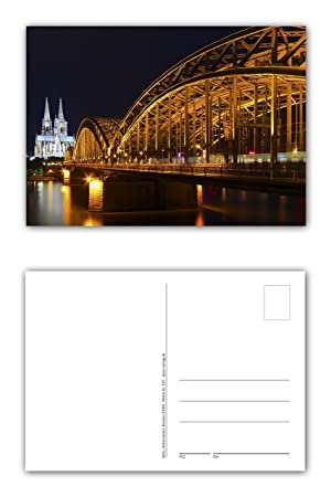 12 Unidades Tarjetas postales Colonia, Hohenzollern Puente Sobre El Formato De La Noche Con Visión