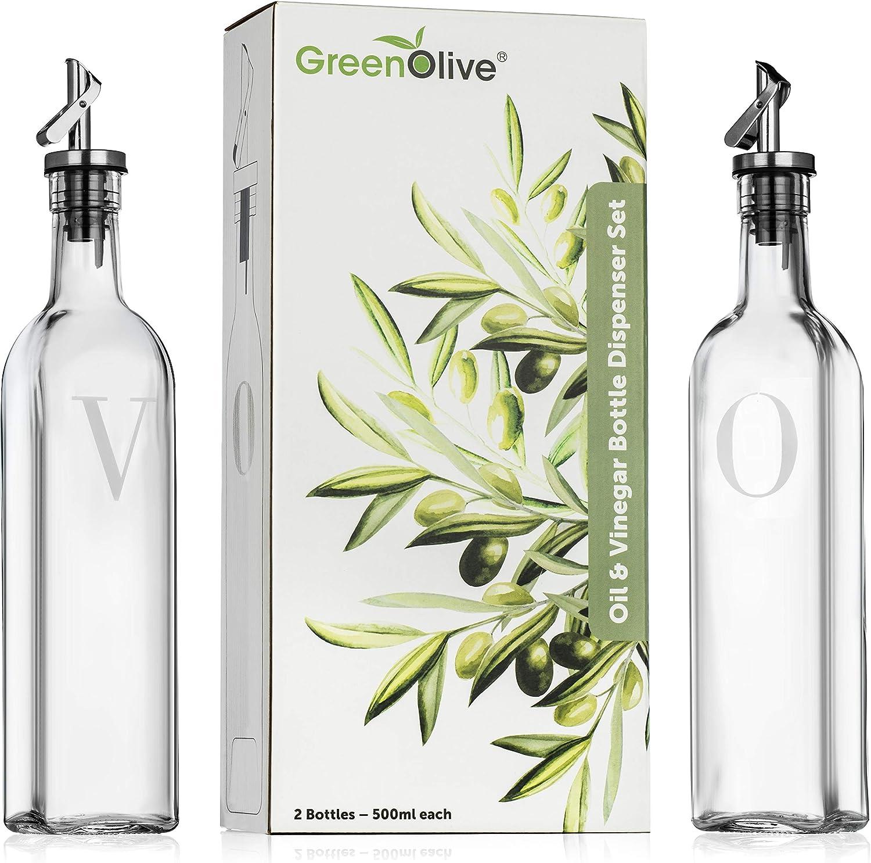 GreenOlive Olive Oil and Vinegar Dispenser Set - 17 oz. No Drip BPA Free Spout, Olive Oil Bottle For Kitchen Cruet Set