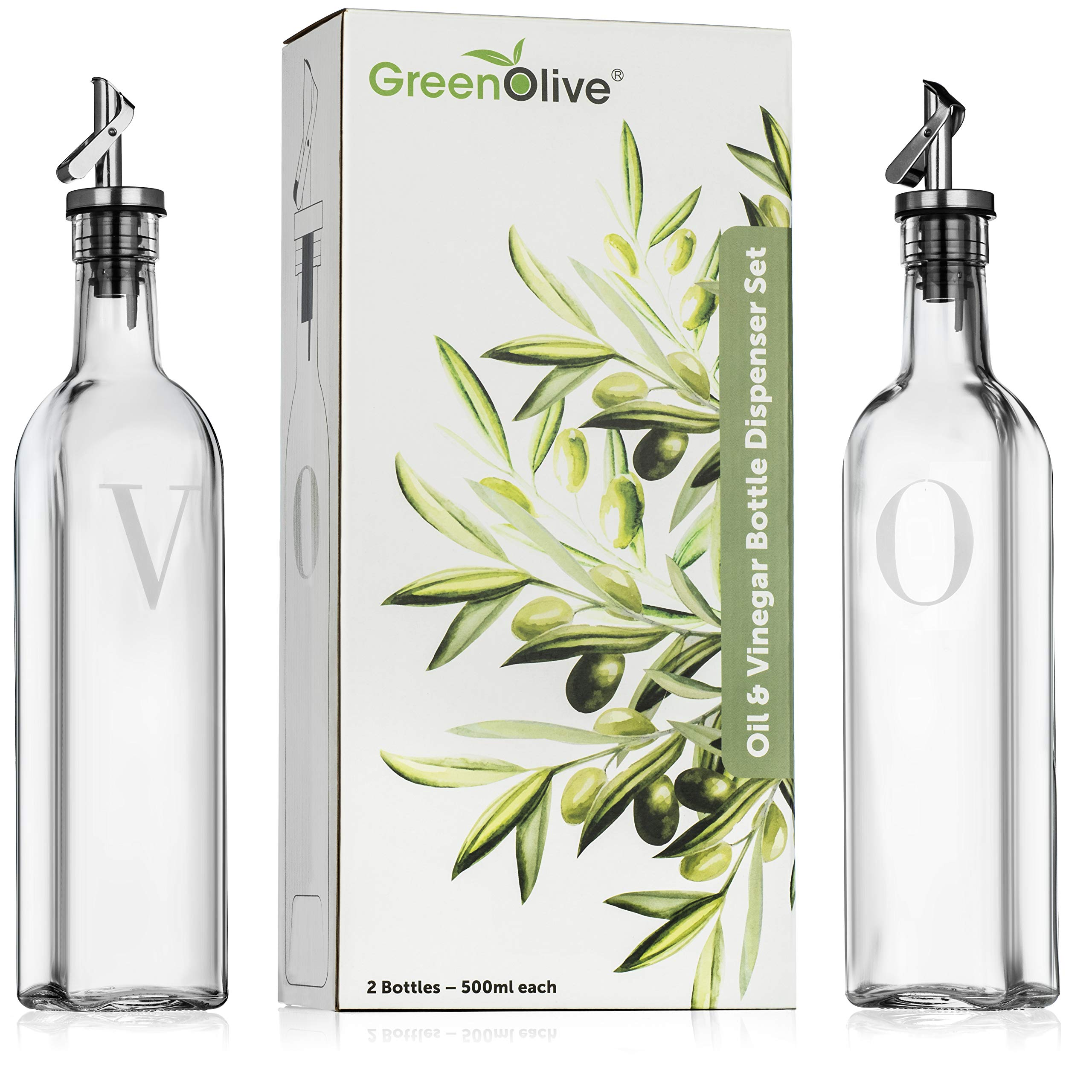 Olive Oil and Vinegar Dispenser Set - 500 ml/17oz - Perfect Glass Vinegar and Olive Oil Dispenser Bottles with Stopper for Cooking BPA Free Gravity Spout by GREENOLIVE