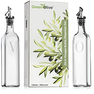 Olive Oil and Vinegar Dispenser Set - 500 ml Perfect Glass Vinegar and Olive Oil Dispenser Bottles with Stopper for Cooking BPA Free Gravity Spout