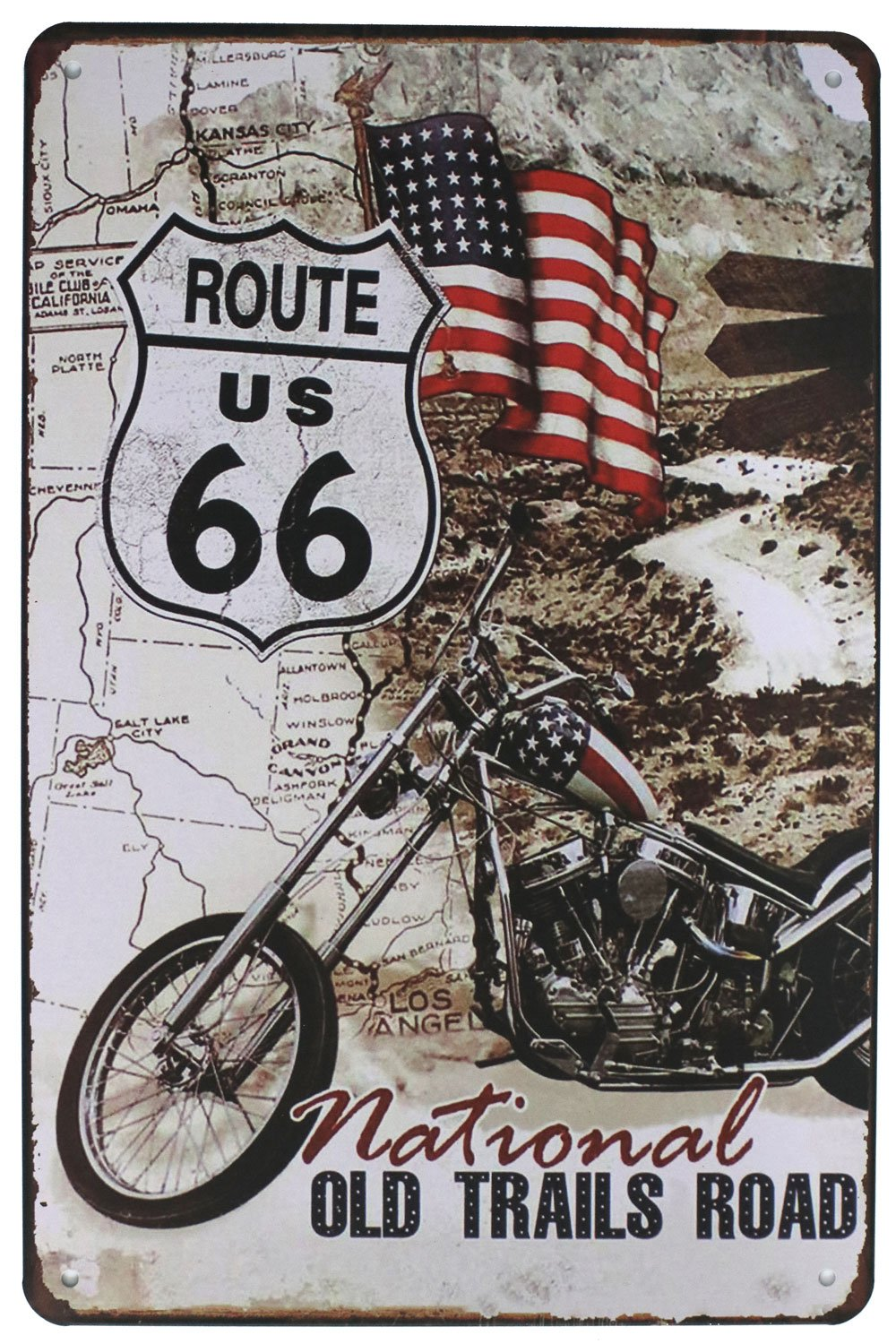 CDM product Sumik The National Old Trails Road Route US 66 Motorcycle, Metal Tin Sign, Vintage Plaque Art Poster Garage Living Room Home Wall Decor(Ship From Canada) big image