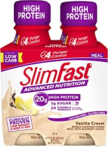 SlimFast Advanced Nutrition Vanilla Cream Shake – Ready To Drink Meal Replacement – 20g of Protein – 11 Fl. Oz. Bottle – 4 Count - Pantry Friendly