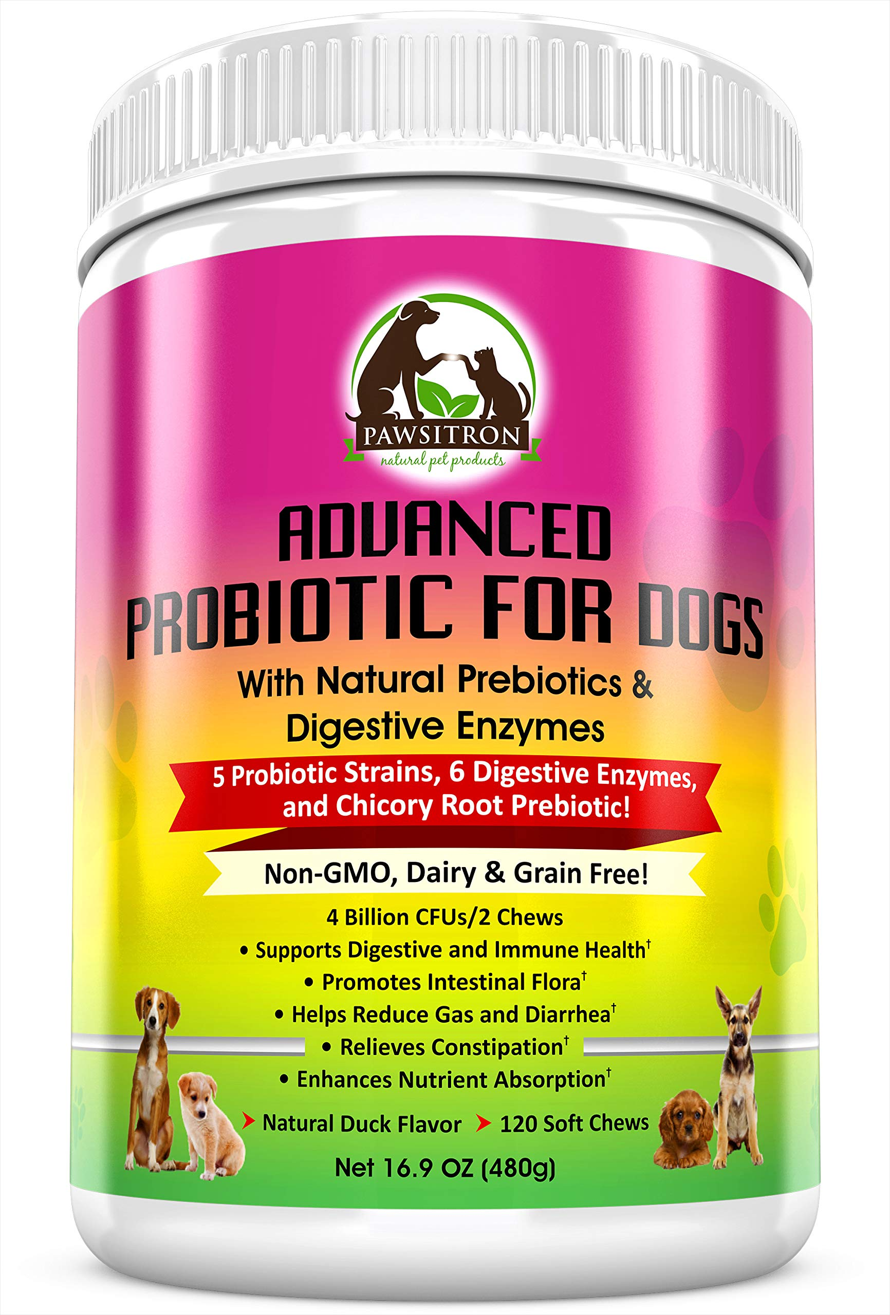Advanced Probiotics for Dogs with Prebiotics + Digestive Enzymes for Overall Wellness, Digestion, Bad Breath, Diarrhea Relief, Constipation - Healthy Dog Treats, Non GMO, Grain Free, 120 Soft Chews