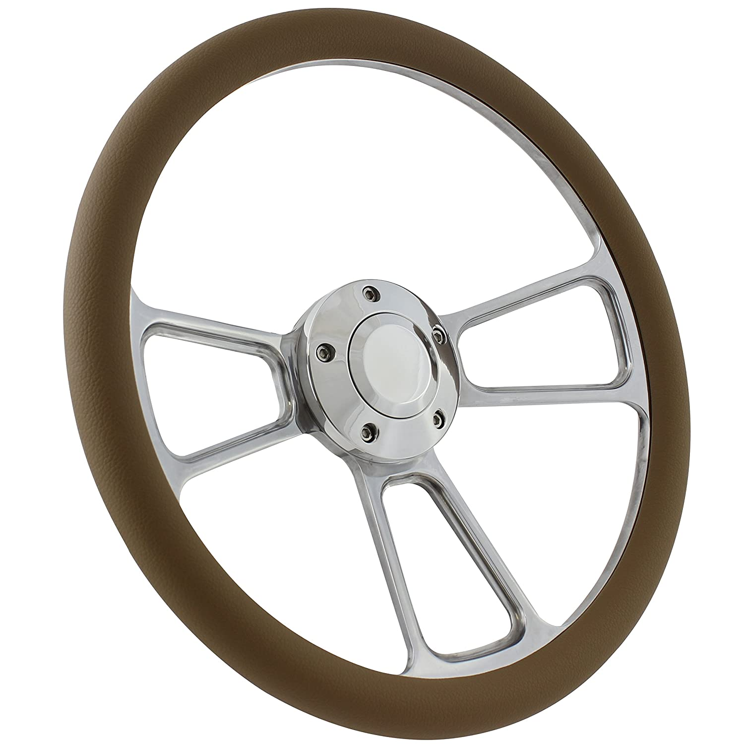 and Installation Adapter Boat Steering Wheel 14 Inch Aluminum With Tan Vinyl Half Wrap Horn Button