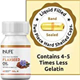 INLIFE Flaxseed Oil Omega 3 6 9 Fatty Acid Supplement - Extra Virgin Cold Pressed 500 mg - 60 Capsules