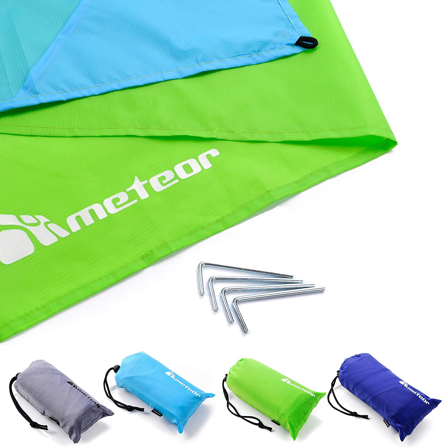 220x200cm//86x79in, Green//Blue Pocket Picnic Blanket Sandproof Water Resistant Compact Lightweight Beach Mat Travel Camping Festival Portable Carry Bag Large Size Corner Pockets Loops 4 Metal Stakes