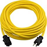 Clear Power 50 ft Heavy Duty Outdoor Extension Cord 12/3 SJTW, Water & Weather Resistant, Flame Retardant, Yellow, 3 Prong Gr