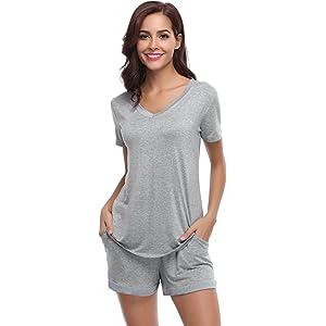 Super Specials jetzt kaufen 60% Rabatt Hawiton Damen Schlafanzug Kurz Baumwolle Sommer Pyjama ...