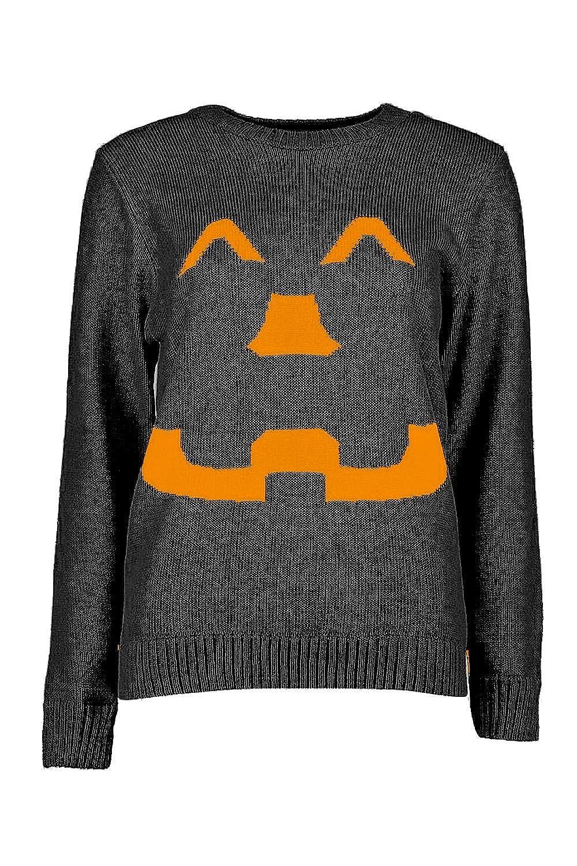 Womens Pumpkin Halloween Men Unisex Knitted Ladies Jumper Dress UK Sizes 8-26