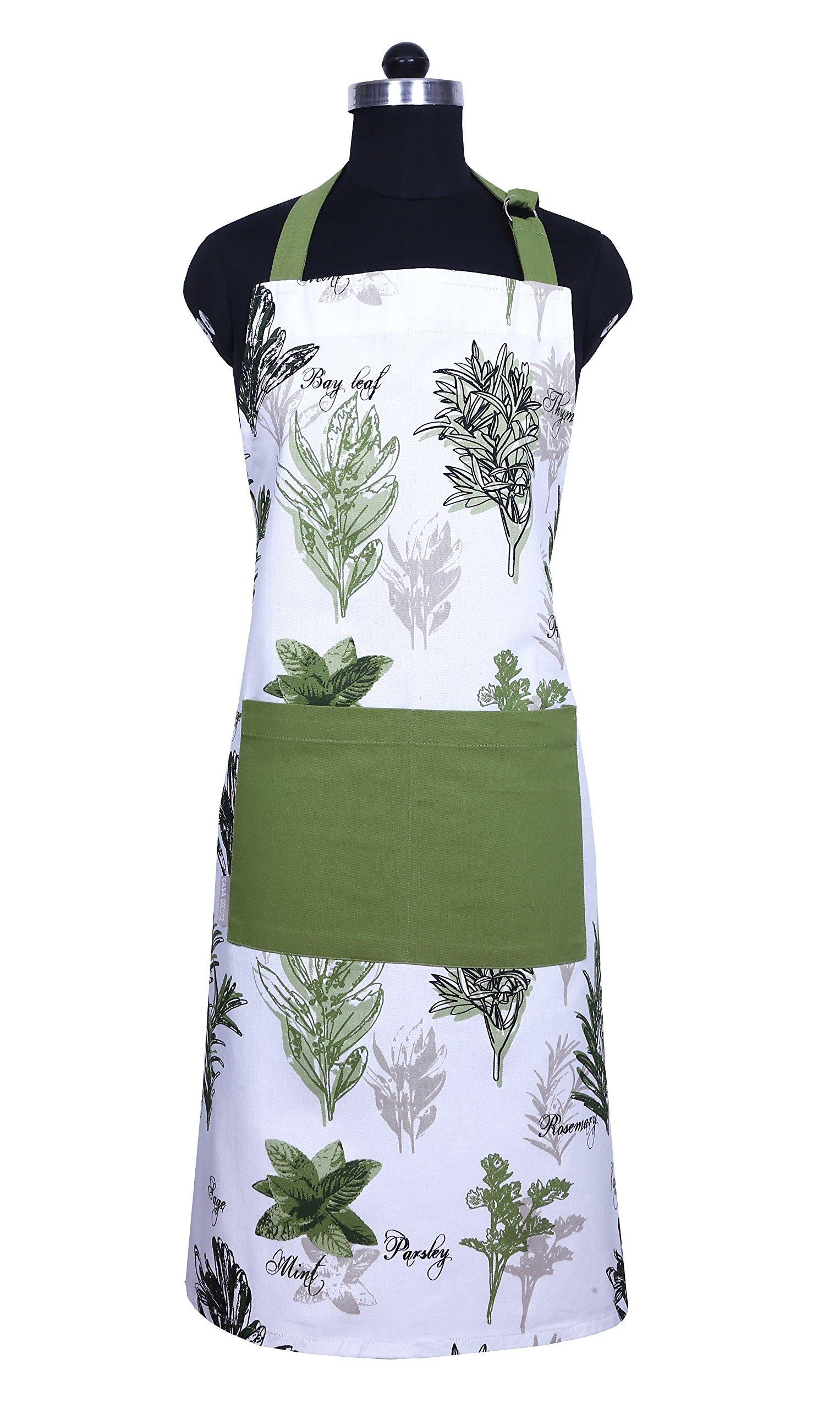 CASA DECORS Apron, Mother's Day Unique Herb Garden Design, Aprons for Women with Pockets, 100% Natural Cotton, Eco-Friendly & Safe, Adjustable Neck & Waist ties, Machine Washable