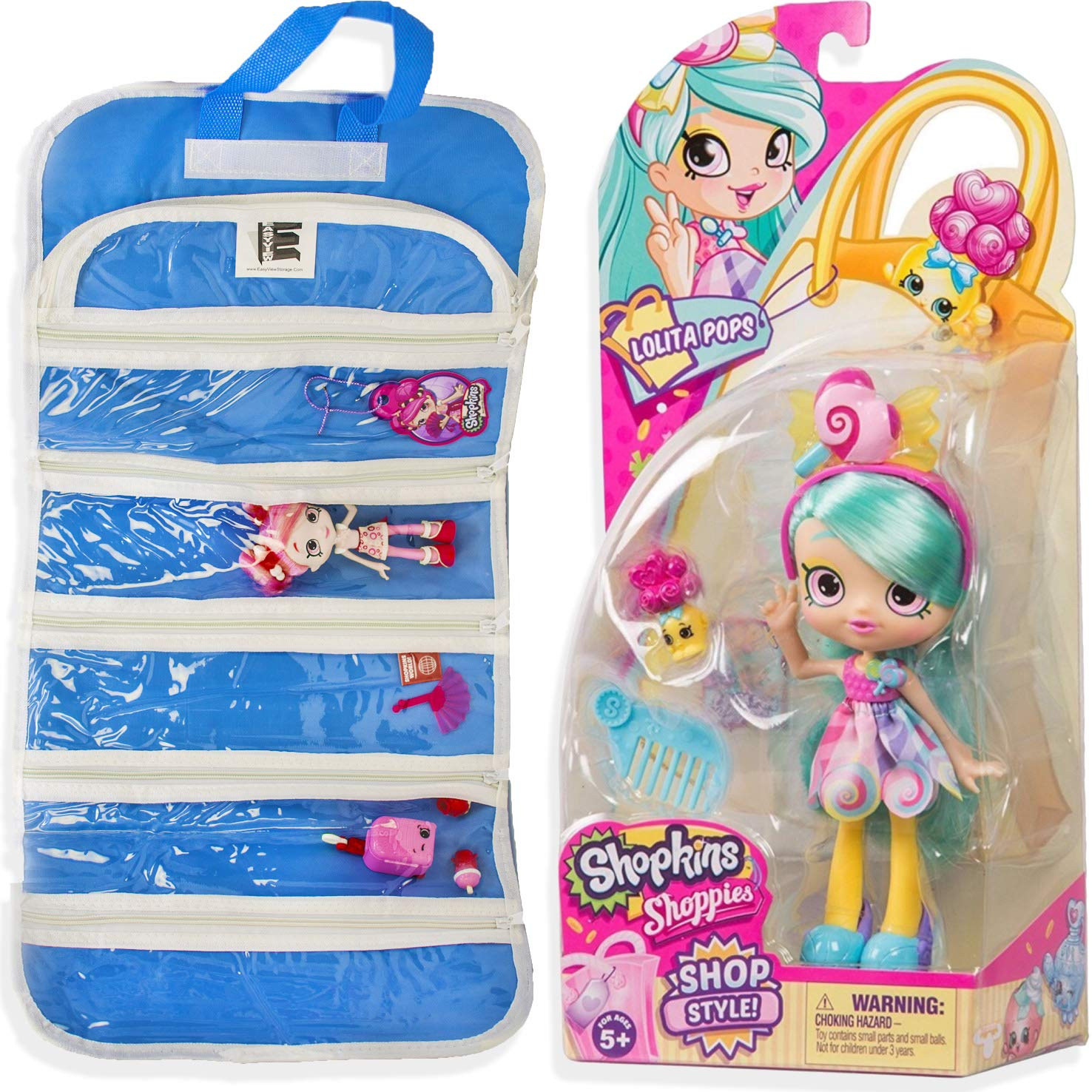 EASYVIEW Shoppies Doll Shopkin and Accessories Compatible Blue Toy Organizer Case Blue-Case