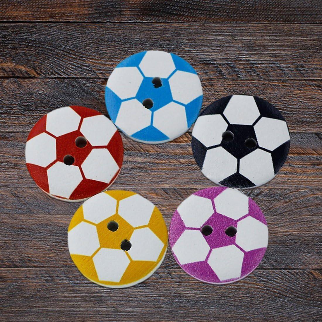 TOOGOO 100 pezzi Bottoni da cucire in legno a forma di pallone da calcio con 2 fori arrotondati per artigianato