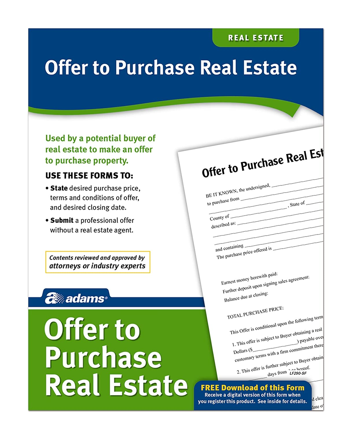 Amazon Adams Offer To Purchase Real Estate Forms and – Agreement to Purchase Real Estate Form Free