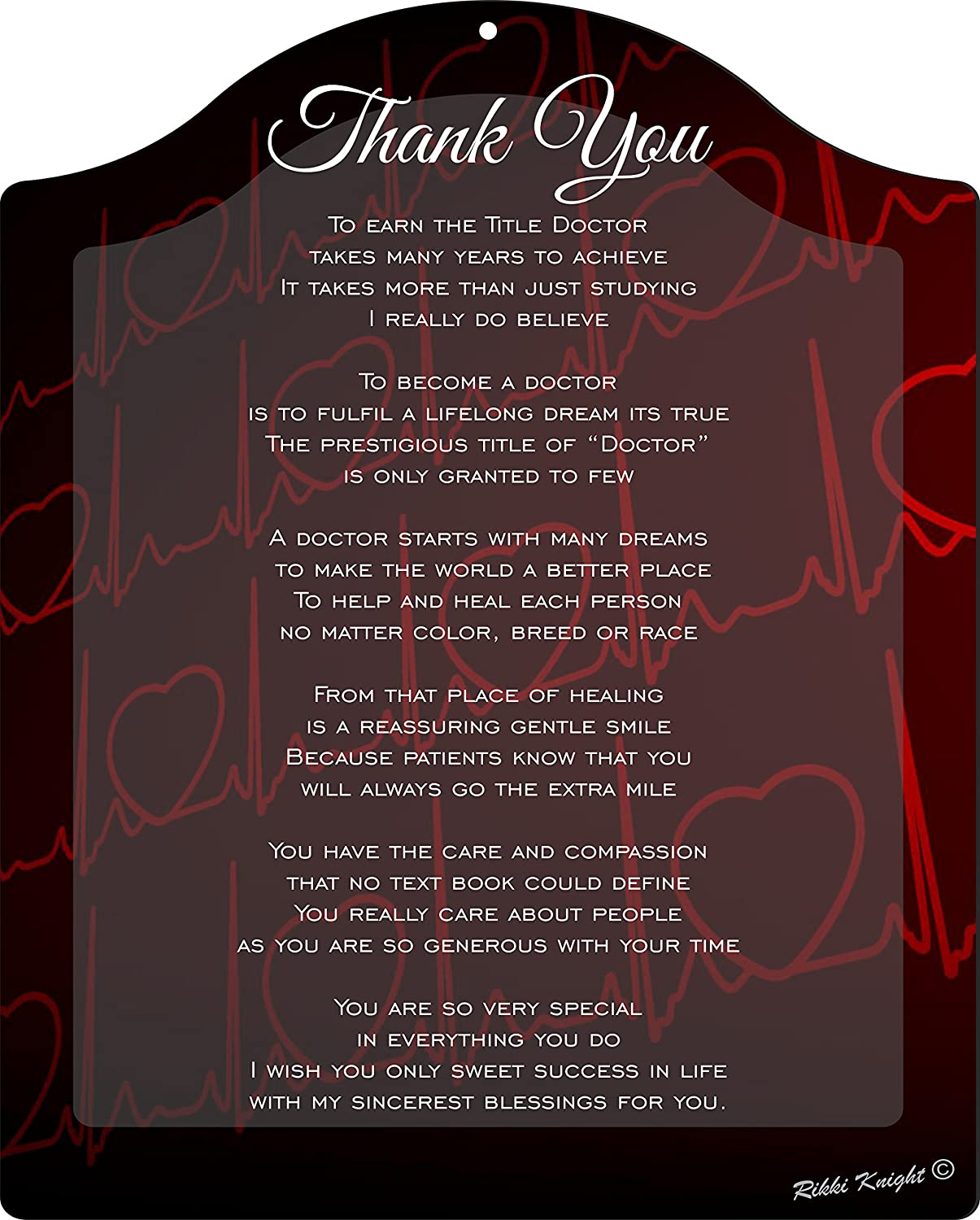 Thank you Doctor - Heartbeat Touching 8x10 Poem Plaque with Arch Top