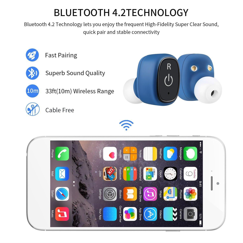 LESHP S2 Mini Auriculares Inalámbricos Bluetooth 4.2 Impermeable IP67 con Estación de Carga 850 mAh Auriculares Deportivos In-ear Ideal para Iphone (Azul): ...