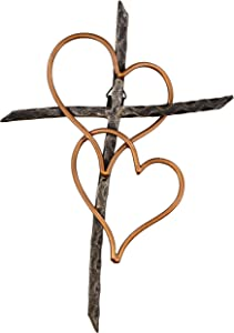 Old River Outdoors Entwined Hearts Decorative Metal Wall Cross - Joined Two Hearts, One Love Promises Kept