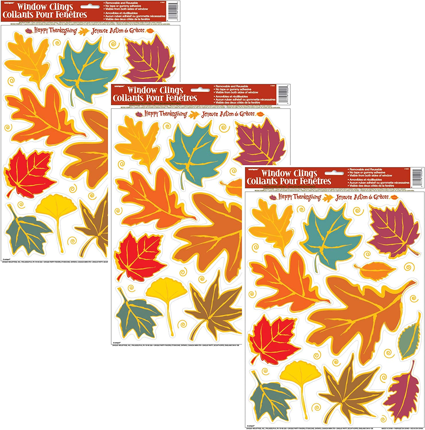 Unique Falling Fall Leaves Window Clings   3-Pack   Autumn, Fall, Thanksgiving Wall and Floor Adhesive Decorations