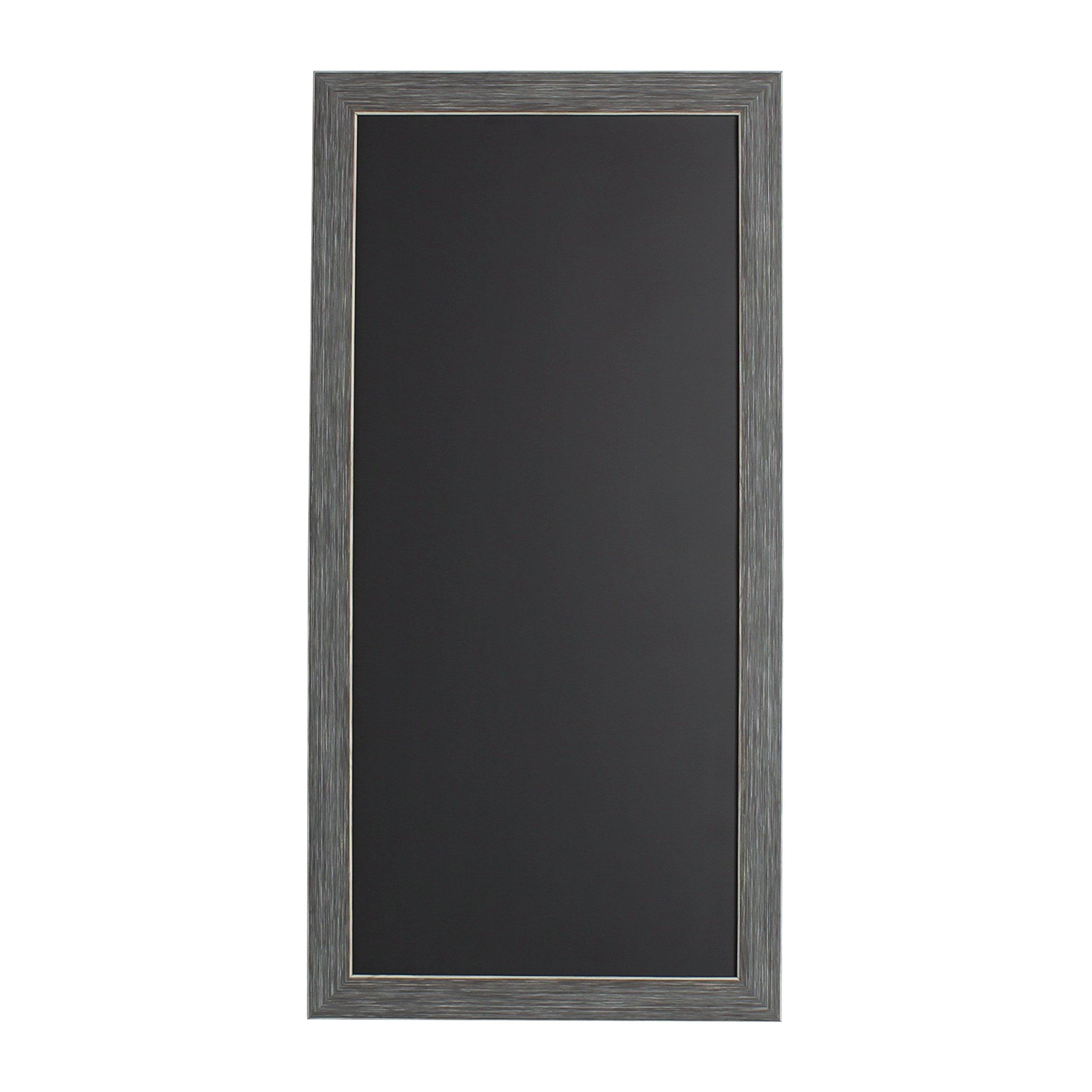 DesignOvation 210085 Wyeth Framed Magnetic Chalkboard Wall Organization Board, Gray