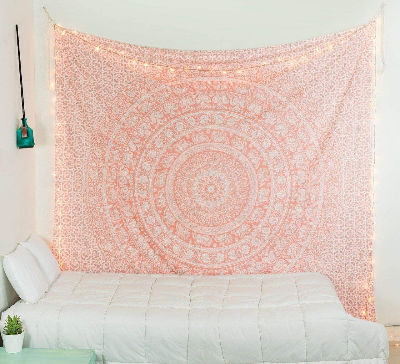 Popular Handicrafts Kp927 Elephant Twin Tapestry Hippie Mandala Bedding Indian Rose Gold Tapestry Bohemian Psychedelic Cotton Wall Tapestry Dorm Room Decor 54x82 Inch