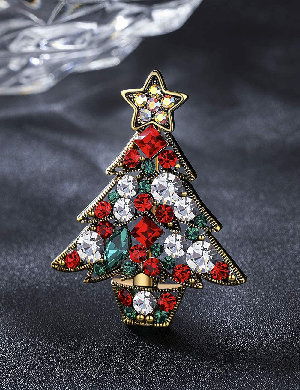 YIBA TECH Vintage Colored Christmas Tree Rhinestone Brooch Pin Wedding Party Jewelry