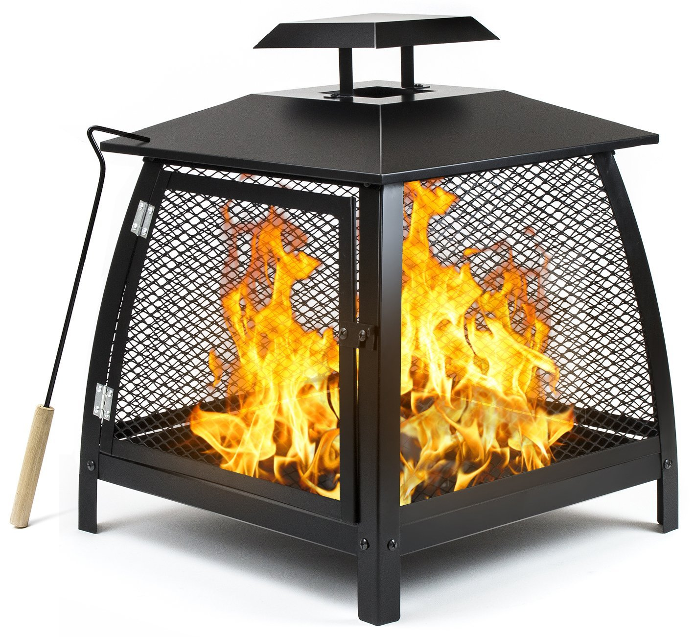 Sorbus Fire Pit Basket with Door and Poker Tool, Outdoor Fire Place Pit Brazier for Patio Heating or Incinerator for Garden Waste, Great for Backyard, Camping, Picnic, Bonfire, etc (Fire Pit Basket)