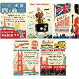 World Cities Vintage Style Poster Set of 5 Decorative Paper 20 x 28
