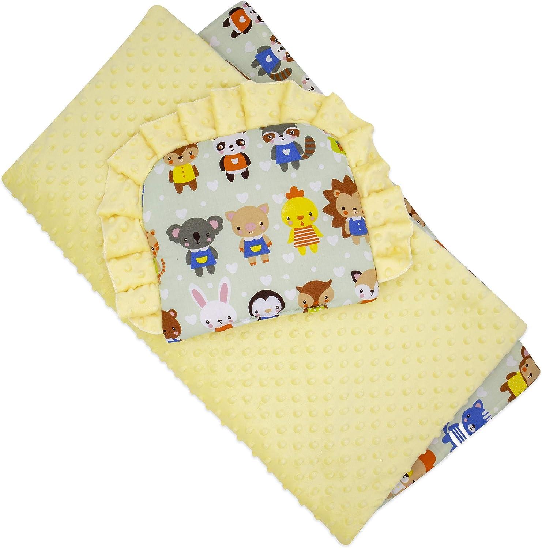 75 x 65 cm Pour 0-12 mois Rose Cadeau parfait pour Baby Shower r/éversible Couette avec oreiller pour nouveau-n/és BlueberryShop Minky Couverture de landau
