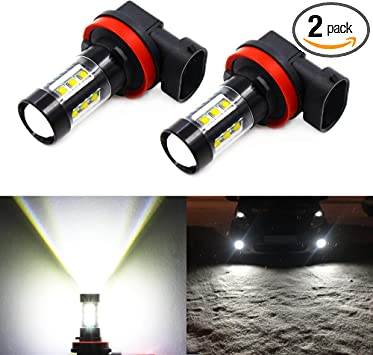Pack of 2 ZonCar 6000K Xenon White Extremely Super Bright Upgrade 27-SMD Non-polarity Fog Lights Bulbs Replacement for Cars Trucks H11//H8//H16 LED Fog Lights Bulbs