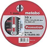 Metabo - Boite métal de 10 Disques à tronçonner - Acier inoxydable - 125 x 1 mm (Import Allemagne)