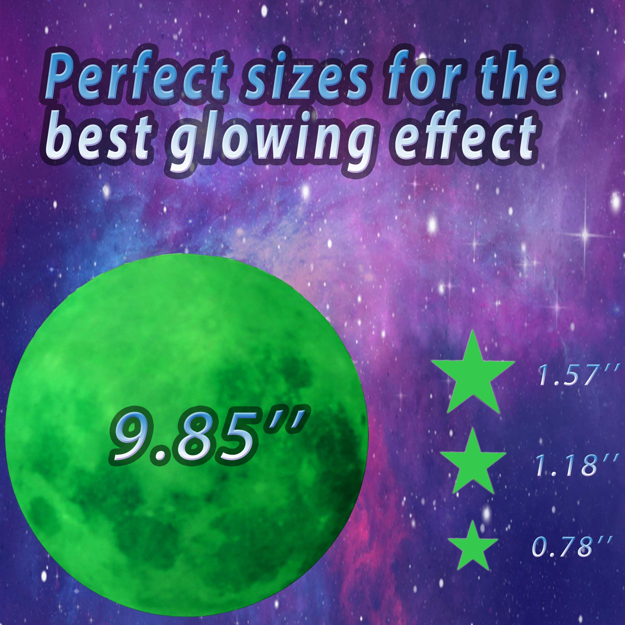 HORIECHALY Glow in The Dark Stars Wall Stickers, 221 Adhesive Bright and Realistic Stars and Full Moon for Starry Sky, Shining Decoration for Girls and Boys, Beautiful Wall Decals by HORIECHALY