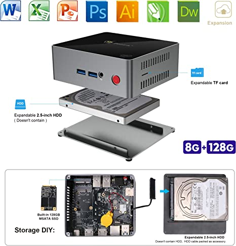 SeeKool Windows 10 J45 Mini PC, Intel Apollo Lake J4205 Procesador ...