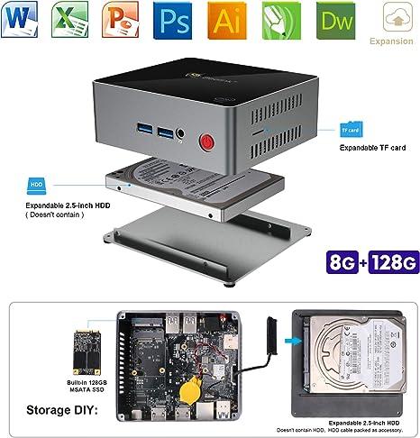 SeeKool Windows 10 J45 Mini PC, Intel Apollo Lake J4205 Procesador ...