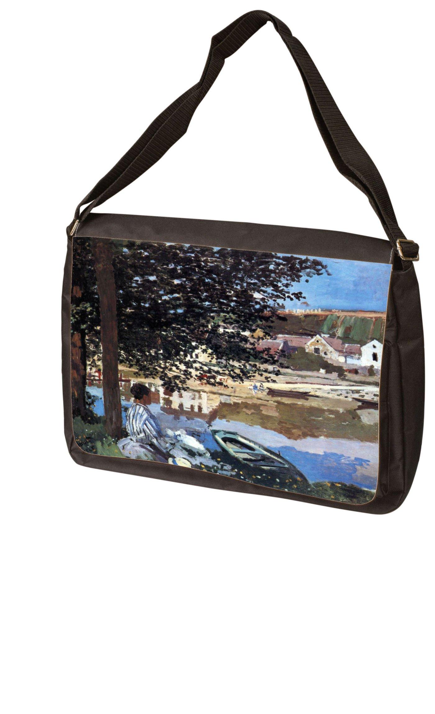 The River Has Burst Its Banks By Claude Monet Laptop - Messenger Bag