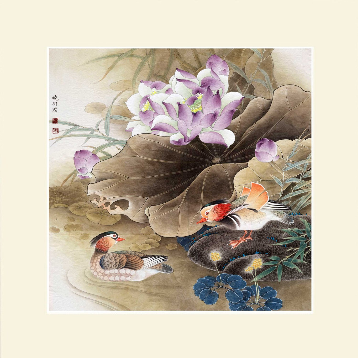 INK WASH Chinese Flower Landscape Painitng of Feng Shui Mandarin Ducks Painting for True Love Activate Relationship Art Wall Artwork for Office Bedroom Living Room 28''x28''