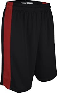 "product image for PT-6939-CB Performance Dry Fit 9"" Short with White Side Panel-Made with Moisture Management and Odor Defense-Running, Basketball, Cross Training, and Gym-Sizes SM-XXXL. (XX-Large, Black/Red)"