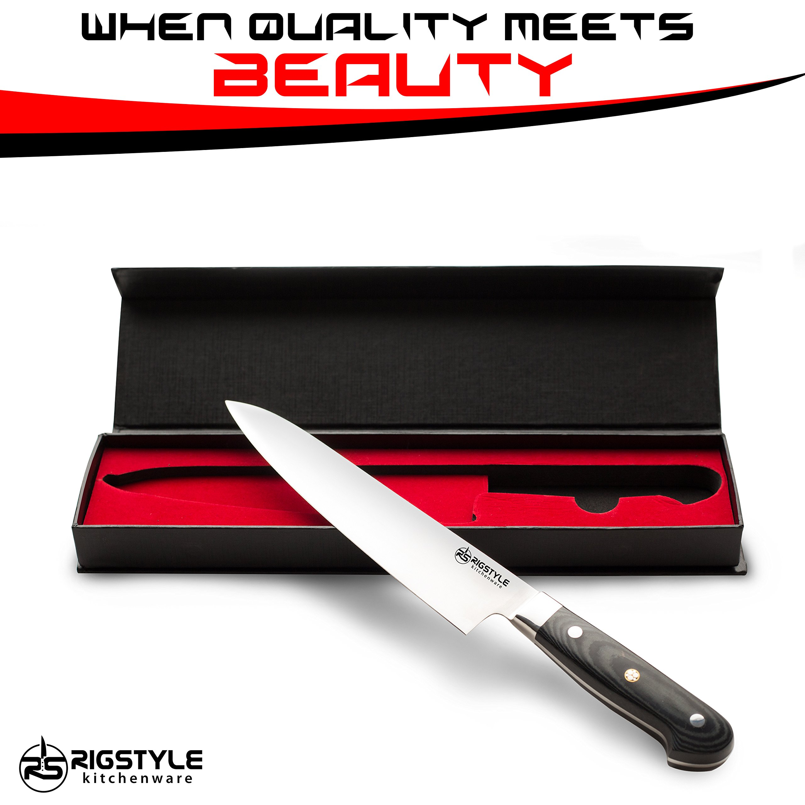 RIGSTYLE German Chef Knife 8 inch, High Carbon Stainless Steel, Sharp Blade with Ergonomic Handle for Professional Restaurants & Home Kitchens, Meat, Fish, Chicken & Vegetables Chopper, with Gift Box by RIGSTYLE (Image #8)