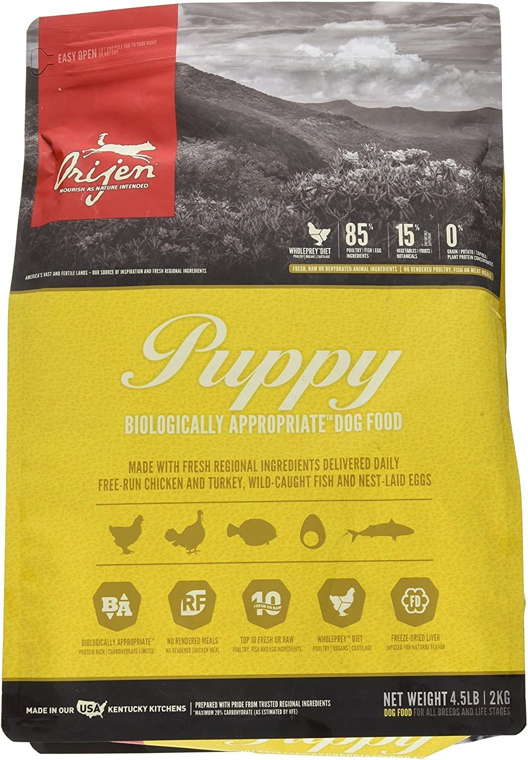 Orijen 4.5 LB Puppy Dry Dog Food Formula. (1 Pack) Grain Free Puppy Food
