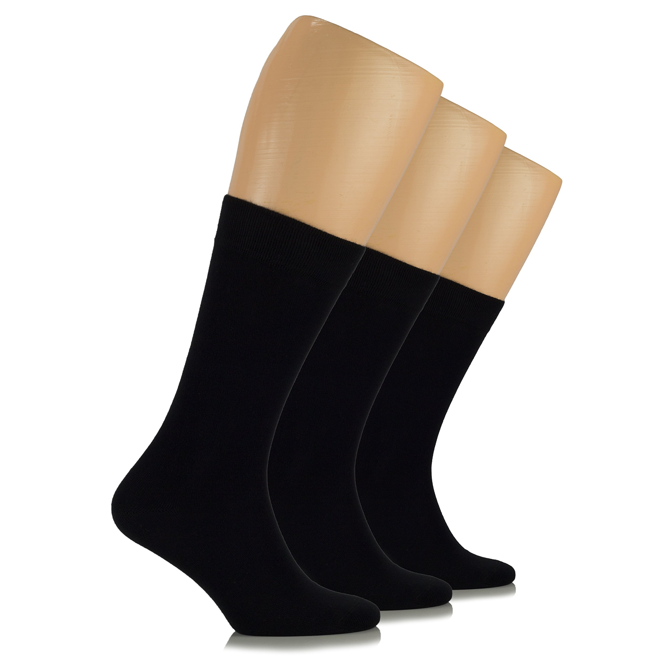 Hugh Ugoli Women's Dress Crew Socks Bamboo Business Casual Comfort Seam (Shoe size: 6-9, Black)