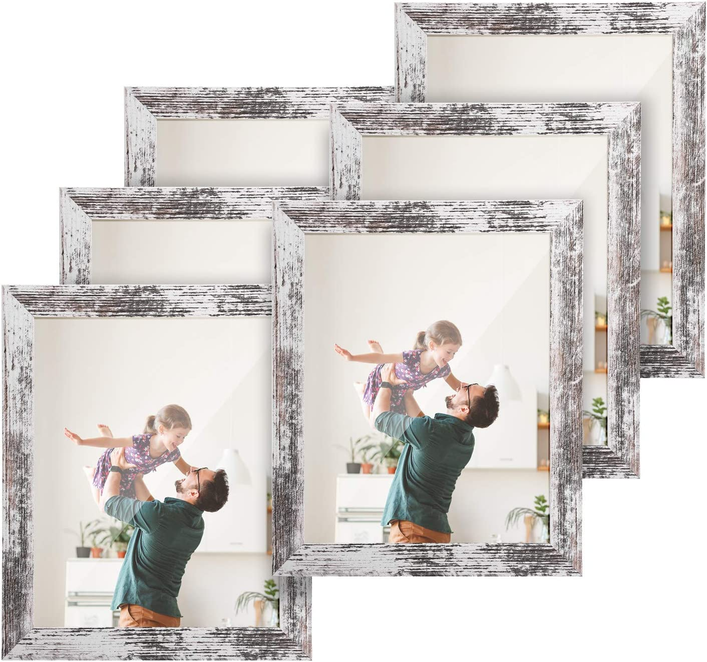 TWING Rustic 8 by 10 Picture Frames Distressed White Wood Pattern High Definition Plexiglass Photos Frame for Table Top and Wall Display 6 Pack