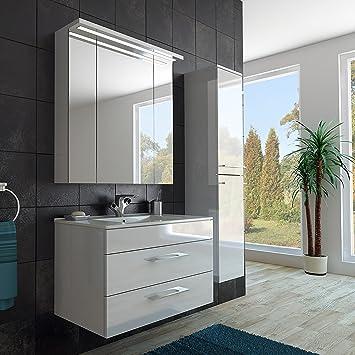Modernes Badezimmer Möbel Set/mit Waschbecken/Spiegel- und Hochschrank/in  weiss/hochglanz lackiert/mit LED Beleuchtung/Softclose System und ...