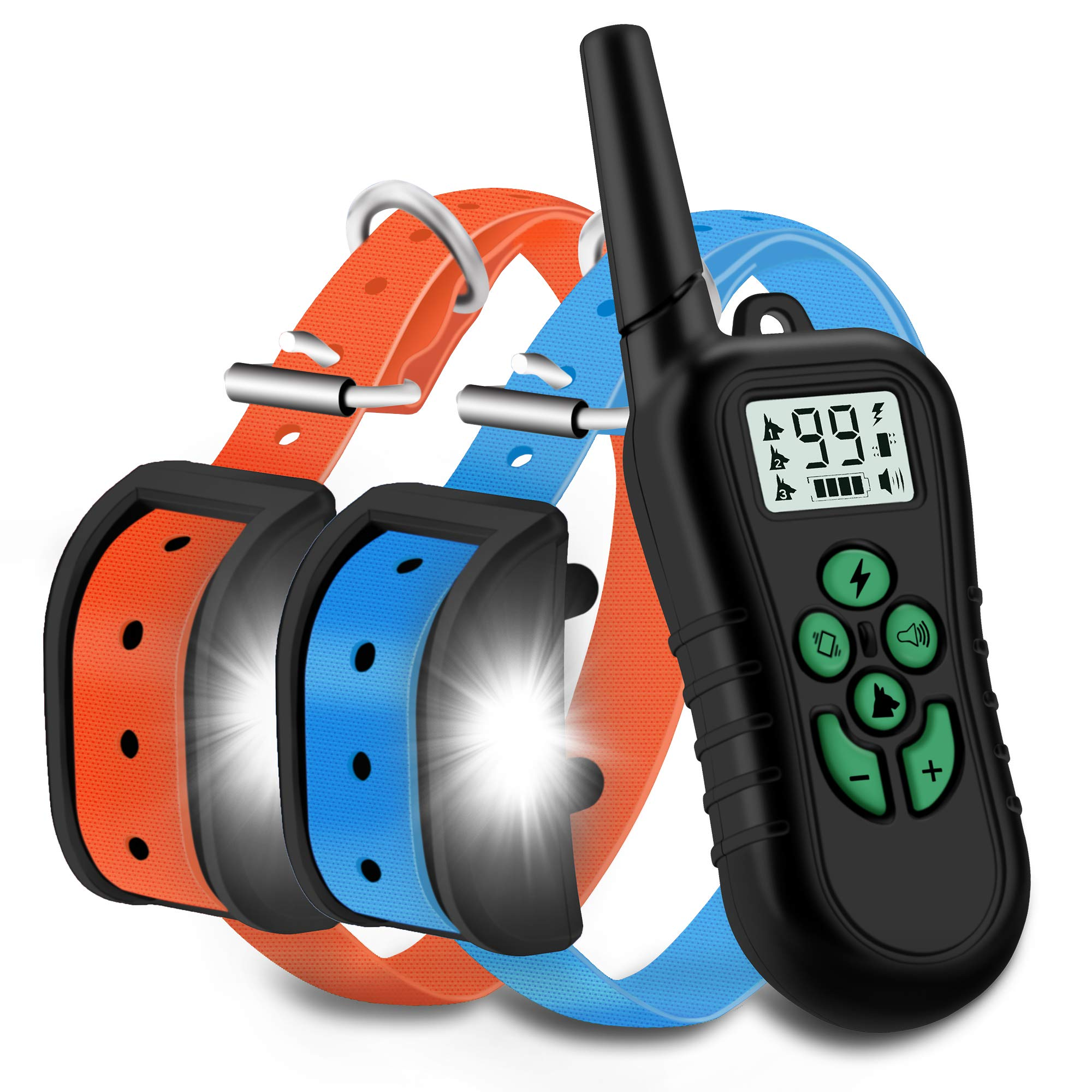 WILLBEST 2019 Upgraded Dog Training Collar Waterproof and Rechargeable Range 1650 Ft Shock Collar with Beep,Vibration,Shock,Tracking Light Modes by WILLBEST