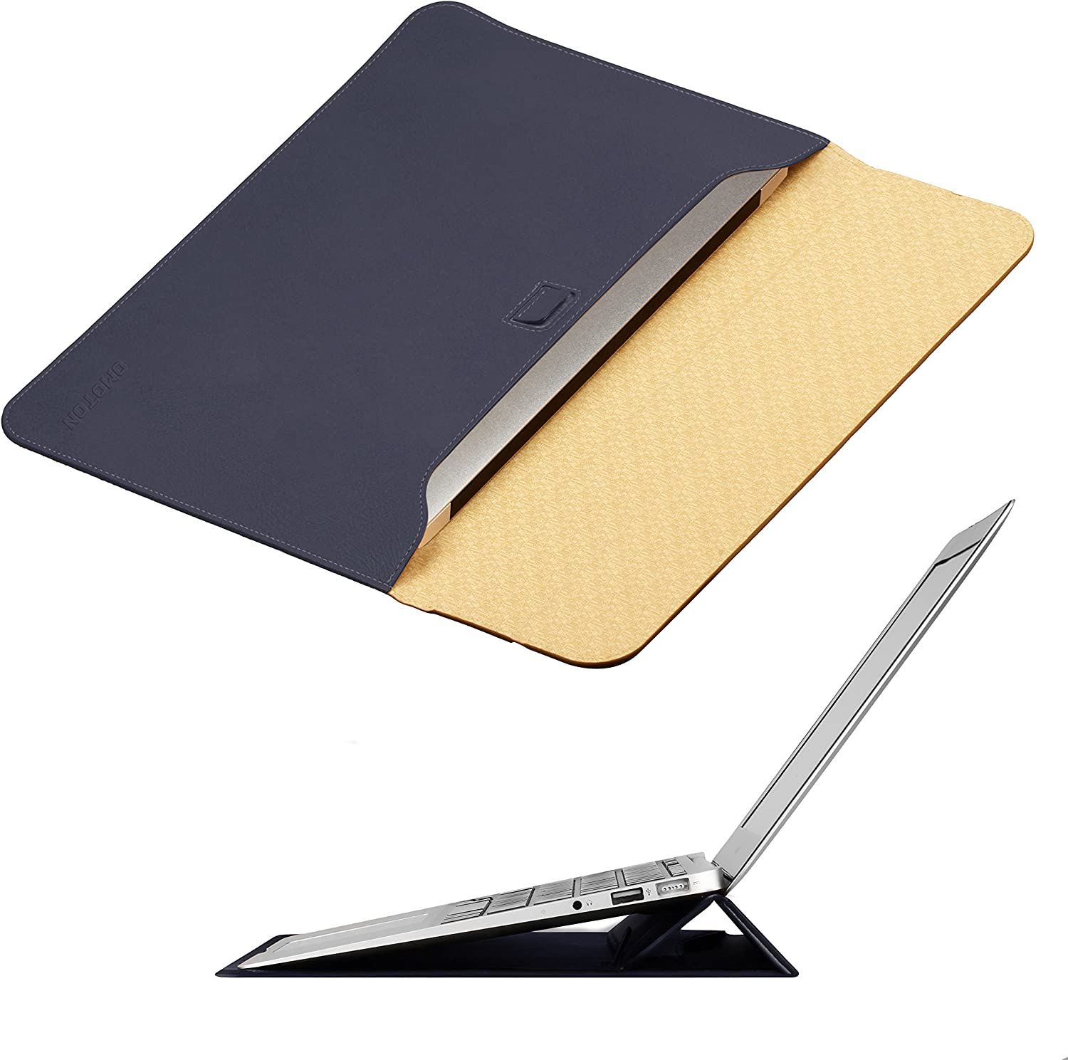 MacBook Air 13 inch Laptop Case Sleeve with Stand, OMOTON Wallet Sleeve Case for MacBook Air 13 inch (2017 Version Only), Ultrathin Carrying Bag with Stand, Navy Blue